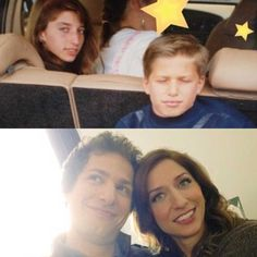 Jake and Gina know each other in real life?-------> Yep, Chelsea peretti( Gina) and Andy Samberg(Jake) were both childhood friends Brooklyn 9 9, Brooklyn Nine Nine Funny, Funny Love, Love Quotes Funny, Funny Sayings, Funny Memes, Jake And Amy, Leelah, Jake Peralta