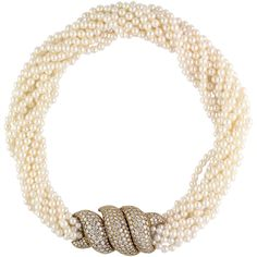 HARRY WINSTON Pearl Diamond and Gold Torsade Choker Necklace | From a unique collection of vintage multi-strand necklaces at https://www.1stdibs.com/jewelry/necklaces/multi-strand-necklaces/