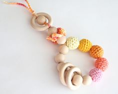 Teething toy rattle with crochet wooden beads and 3 wooden rings @Pamela Cossu