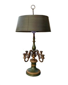 Antique Green & Gold Lamp with Candelabra by CovingtonAvenue, $225.00