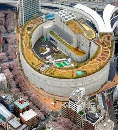 A giant doughnut-shaped garden on the roofed junction of the Shuto Expressway in Tokyos Meguro Ward.