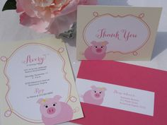 Adorable Pink Pig Birthday Invitation / Set of 10. $27.50, via Etsy.