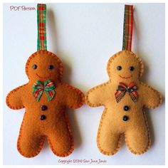 Gingerbread Man PDF Pattern - Easy-to-Sew    This is a downloadable PDF sewing pattern and tutorial to make a very cute gingerbread man ornament
