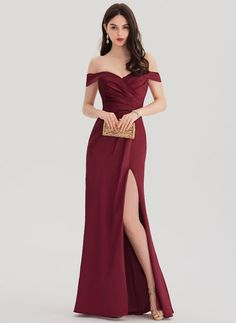 Sheath/Column Off-the-Shoulder Floor-Length Satin Prom Dress With Ruffle Split F. - Sheath/Column Off-the-Shoulder Floor-Length Satin Prom Dress With Ruffle Split Front – Prom Dresses – JJsHouse Source by torivan - Elegant Dresses, Beautiful Dresses, Nice Dresses, Grad Dresses, Homecoming Dresses, Split Prom Dresses, Chiffon Evening Dresses, Strapless Dress Formal, Formal Gowns