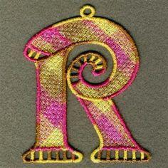 FSL Variegated Letter R embroidery design
