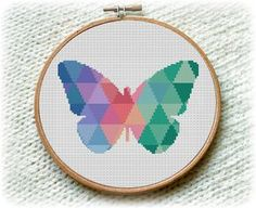 BOGO FREE! Mosaic Butterfly, Cross Stitch Pattern Modern, Geometric Meadow Insects Wall Home Modern Decor PDF Instant Download #025-1 by StitchLine on Etsy