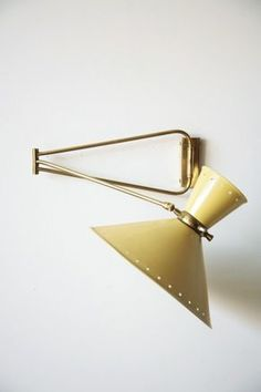 PIERRE GUARICHE 1950'S FRENCH WALL LAMP  Brass Fixture with Articulating Arm and Enameled Yellow Metal Shade