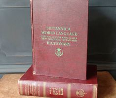 Vintage Dictionary, Britannica World Language Dictionary, 2 Volumes, 1956, English to Foreign Language Translations, Scrapbooking, Craft Pages,
