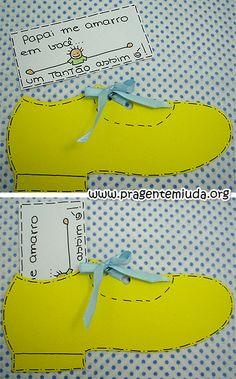 Cartão para o dia dos pais com moldes - Sapato - Pra Gente Miúda