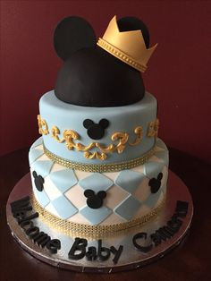 Prince Mickey Mouse Baby Shower Cake
