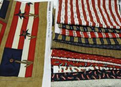 Patriotic fabric by Sandy Gervais from Moda fabrics Thrifting, Fabrics, Quilts, Blanket, Tejidos, Comforters, Quilt Sets, Kilts, Rug