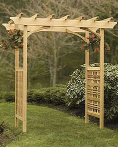 """Heritage Arbor Natural Western red cedar with stainless steel screws   • Easy assembly  requires a Phillips screwdriver   • Outside arch dimensions are 70"""" W x 32"""" D x 87"""" H overall at roof   • Inside arch opening is 77-1/4"""" H   • Width of arch is adjustable in three positions; inside opening will be 48-1/2"""", 54-1/2"""" or 60-1/2"""" W   • Arch weighs approx. 100 lbs.   • For stability, installation on concrete footings   • 4 anchors included to attach arch to footings  599"""