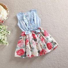 Department Name: Children Gender: Girls Decoration: Ruched Sleeve Style: Regular Pattern Type: Floral Style: Casual Material: Cotton Material: Polyester Material: Voile Material: Mesh Dresses Length: