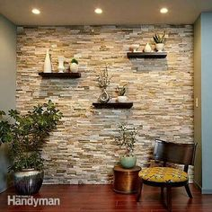Create a Faux Stone Accent Wall - Cover a wall with stone veneer and transform a room! You can transform any room with a stunning stone accent wall like this. Faux Stone Walls, Stone Accent Walls, Faux Brick, Brick Walls, Faux Stone Sheets, Wooden Accent Wall, Tile Accent Wall, Wall Accents, Exposed Brick