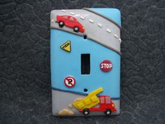Jonas Truck Car Vehicle Transportation Light by Thimbletowne Car Themed Bedrooms, Big Boy Bedrooms, Baby Boy Rooms, Baby Boy Nurseries, Switch Plate Covers, Light Switch Covers, Switch Plates, Transportation Room, Biscuit