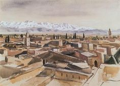 Marrakesh.Mountain view from terrace of Atlas. 1928, Zinaida Serebriakova
