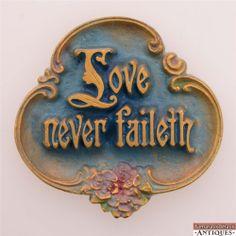 c1928 AE Mitchell Trefoil Love Never Faileth Fails Blue Gilded Small Wall Plaque