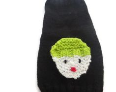 A Christmas cat sweater with a  Hand knitted  SNOWMAN  design on the front. Small dog  Unisex dog winter sweater.