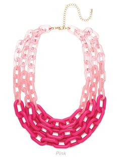 necklace, chains, layers, colored clear and opaque links for a bright and bold statement.