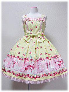 Lolibrary   Angelic Pretty - JSK - Cherry Berry Bunny Heart JSK in yellow