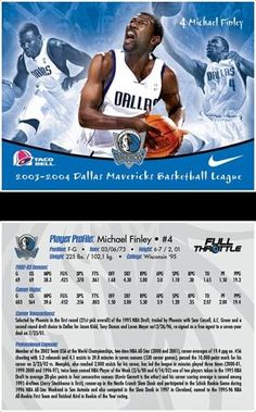 Michael Finley promotional trading card for NBA's Dallas Mavericks. Given away to a certain number of fans who arrive first. Promotion was in tandem with Nike and Taco Bell.