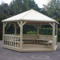 This emperor FSC hexagonal timber roof gazebo is a space area for you to entertain guests late into the evening over some wine and good food as this gazebo. Diy Pergola, Backyard Gazebo, Corner Pergola, Pergola Swing, Metal Pergola, Outdoor Pergola, Cheap Pergola, Pergola Shade, Pergola Kits