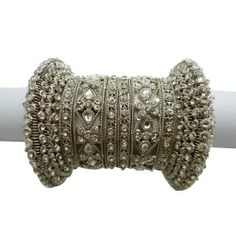 """8 Pcs Silver Tone White CZ Stone Bangle Wedding Kangan Jewelry Set Indian Bollywood Fashion Churi 2*4 IBA. $45.99. 8 Pcs Silver Tone White CZ Stone Bangle Wedding Kangan Jewelry Set Indian Bollywood Fashion Churi 2*4. SIZE - 2*4 (2.2"""" Inner Diameter); COLOR - Silver Tone With White;. SALE FOR - 8 Pcs; MATERIAL - Alloy"""