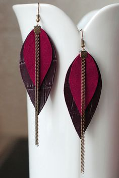 Long Leather Earrings- Layered! These unique leather earrings are hand-cut from upcycled leather pieces. Earrings are light weight. This is perfect, original, stylish accessory for you or your friends. It is great gift idea for birthday or any other occasion. Please mind that each item