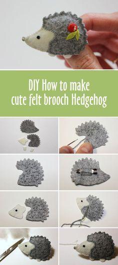 DIY How to make cute felt brooch Hedgehog
