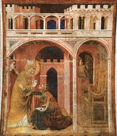 Simone Martini (1285 - 1344) | Miracle of Fire - 1312/17.  Fresco, Cappella di San Martino, Lower Church, San Francesco, Assisi.