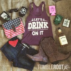 Adorable Let's Drink on It tank top featuring summer country outfit essentials by TumbleRoot. Perfect for every country music festival and concert like Stagecoach, CMA Fest, Faster Horses, and Boots and Hearts. // tumbleroot.com
