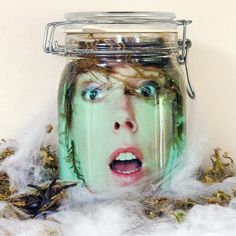 Floating Head in a Jar: With this creepy DIY decoration you can put your own head in a jar!  Photo: Sarah Lipoff