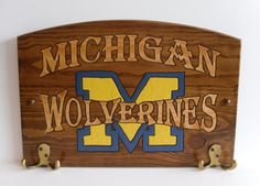 Michigan Wolverines Handcrafted Wood Plaque with Hooks - NCAA Football