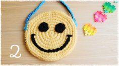 スマイル・ポシェット(2)【かぎ編み】目と口/周りを巻きかがり smiley face mini shoulder bag