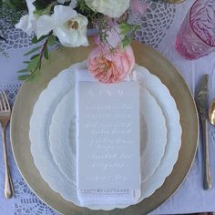 Feminine and delicate wedding menu by Cast Calligraphy. Bozeman, Montana.