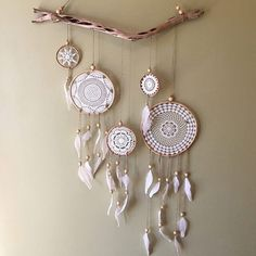 Oh my this will keep your dreams so happy and your eyes happy too Search 'Doily Dreamcatcher wallhanging' on dtll.com.au #wallhanging #dreamcatcher #doily #art