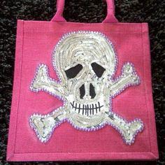 Medium Skull & Crossbones Jute Bag - Sequins and Diamontes :-)
