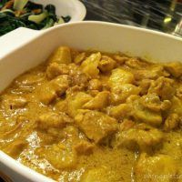 Easy Coconut Milk Curry Chicken Used breasts instead of thighs Low fat coconut milk Curry paste instead of powder Added 1 can bamboo shoots Omitted potato and served over rice Simmered last 7 minutes without lid to thicken liquid All of us liked it