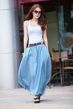 """White tank top and denim skirt. This looks like """"colour block"""" combination. You may mix with with a pair high-heeled sandals, sunglasses and of course a bright-coloured belt. The belt is actually the main emphasis of the mix"""