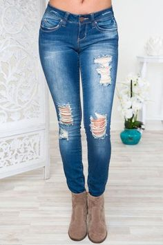 Chelsea Anne Distressed Skinny Jeans - Medium Wash – Shop Priceless