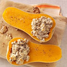 Pecan Stuffed Butternut Squash Recipe- Recipes I love autumn, when butternut squash is at its peak. This is one of my favorite ways to prepare it. The squash is tender, and the creamy pecan filling is fabulous.Sheryl Little, Sherwood, Arkansas Side Dish Recipes, Veggie Recipes, Fall Recipes, Cooking Recipes, Side Dishes, Thanksgiving Recipes, Veggie Meals, Veggie Dishes, Sweet Dumplings