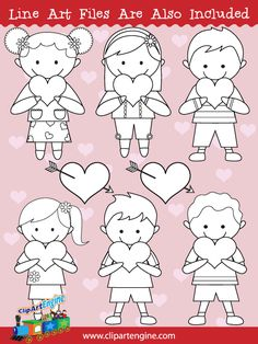 Black and white line art files are also included as part of this collection of kids and hearts clip art.