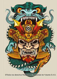 Showcase of Designs & Illustrations of Samurai Warriors Japanese Artwork, Japanese Tattoo Art, Japanese Sleeve Tattoos, Asian Tattoos, Leg Tattoos, Tattoo Arm, Samurai Mask Tattoo, Samourai Tattoo, Japanese Oni