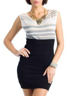 striped metallic two-fer dress $17.95