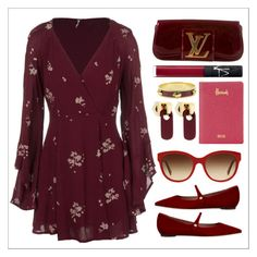 """style  #359"" by simona-altobelli ❤ liked on Polyvore featuring Free People, Louis Vuitton, Tabitha Simmons, Burberry, NARS Cosmetics, Harrods, Alexander McQueen and Marc by Marc Jacobs"