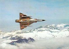 Swiss Air Force Dassault Mirage III Over Alps. Fighter Aircraft, Fighter Jets, Swiss Air, F 16, Blue Angels, Jet Plane, Aviation Art, Submarines, War Machine