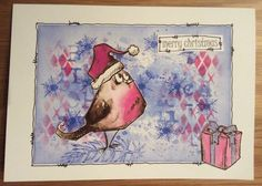 Crazy birds - pink robin Christmas card with present - one layer background