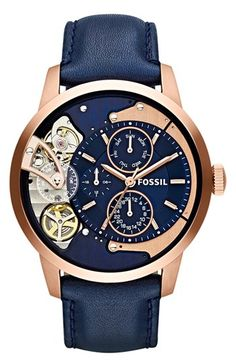 Fossil 'Townsman Twist' Leather Strap Watch, 44mm | Nordstrom