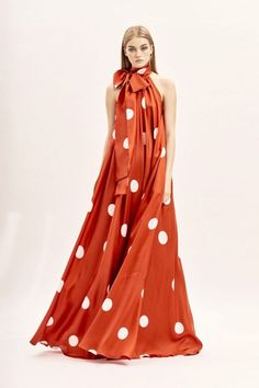 happy monday amazing red long silk dress with white dots a bow collar from collection by 49 # - Dress For Women Women's Dresses, Stylish Dresses, Nice Dresses, Fashion Dresses, Summer Dresses, Couture Fashion, Runway Fashion, Womens Fashion, Spring Fashion