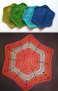 "Shaped Washcloth, free pattern (L30179a) from Lion Brand.  Top pic shows 8 rounds using LB Kitchen Cotton (10-ply) with a 'J' hook; diameter about 9"".  Bottom pic (Ravelry Project Gallery) shows 10 rounds, slightly modified, of Bendigo cotton (8-ply) with a 4.5mm hook (U.S. size 7, between 'G' and 'H').  Overall, the pattern looks like a hexagon ""ripple"", with a secondary starburst pattern formed from the spaces in the 'mountains' and 'valleys' - interesting possibilities :-)   #crochet"